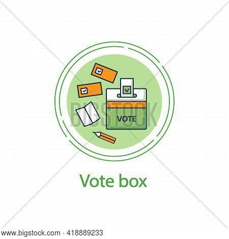 Vote Box Concept Line Icon. Voting Form With Check Mark In Ballot Box. Choice, Vote Concept. Democra