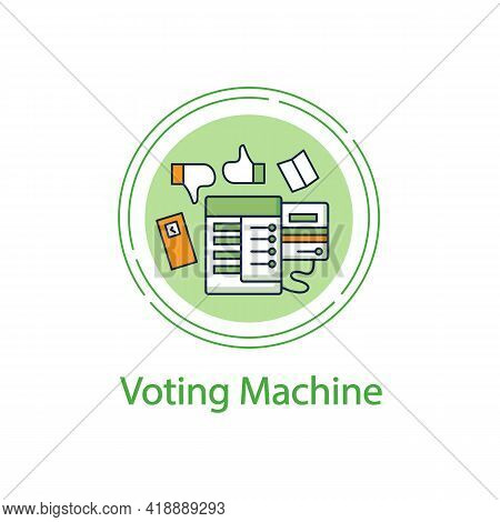 Voting Machine Concept Line Icon. Modern Automated Evm. Election Equipment. Electronic Vote. Choice,
