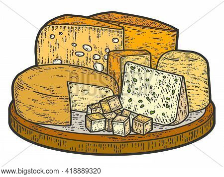 Cheese Set On Plate. Old Engraving Imitation Color. Sketch Scratch Board Imitation.