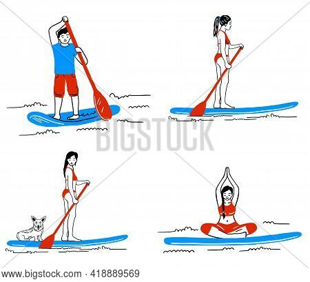 Stand Up Paddle Boarding Elements Collection. Sup Surfing Cartoon Vector Illustration Set With Young