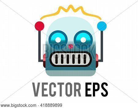 The Isolated Vector Head Of Classic Vintage Tin Toy Grimace Robot Icon With Circular Eyes, Triangula