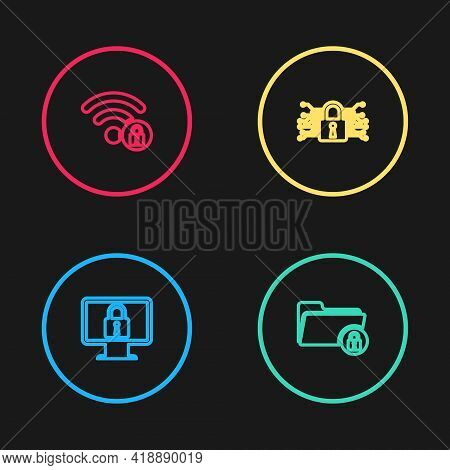 Set Line Lock On Monitor, Folder And Lock, Cyber Security And Wifi Locked Icon. Vector