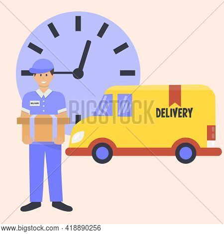 Vector Cartoon Delivery Van With Delivery Man. Online Delivery Service Concept, Online Order Trackin