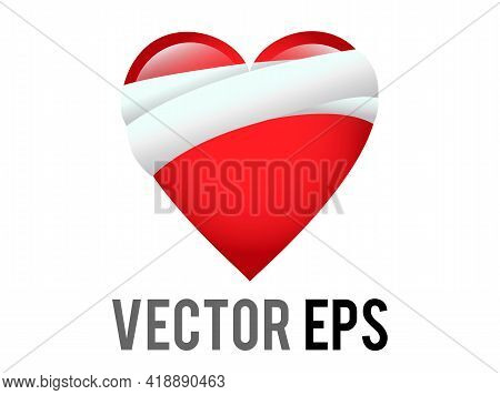 Vector Classic Love Red Glossy Mending Heart Icon With Bandage Across One Side