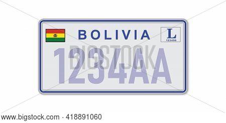 Car Number Plate La Paz. Vehicle Registration License Of Bolivia. American Standard Sizes