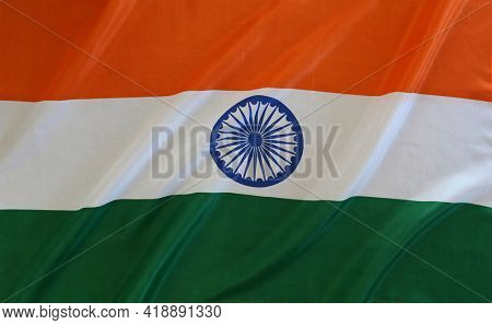 Close-up of silky India flag