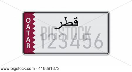 Car Number Plate . Vehicle Registration License Of Qatar. With Inscription Qatar In Arabic. American