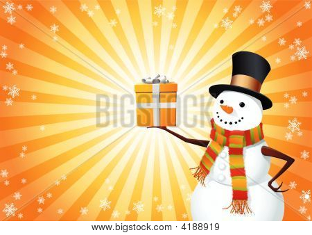 Snowman Hold The Gift
