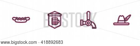 Set Line Hotdog Sandwich, Beer Tap, Signboard With Glass Of Beer And Oktoberfest Hat Icon. Vector
