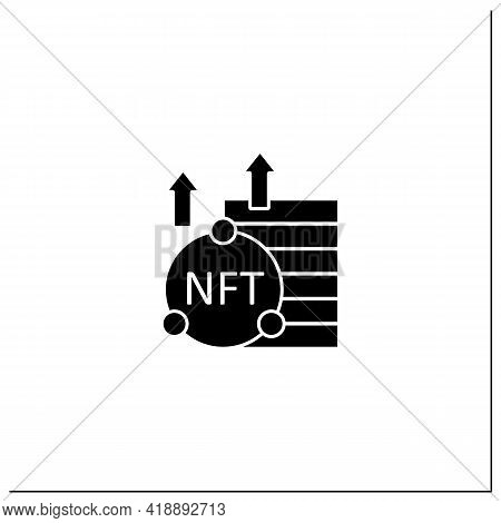 Nft Asset Glyph Icon. Unique Digital Assets. Growth. Cryptocurrency Concept. Filled Flat Sign. Isola