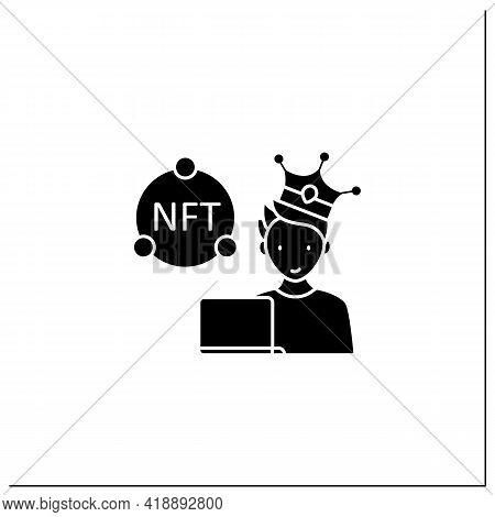 Nft Buyer Glyph Icon. Gain Possession Original Digital File. Buying Nft Files. Digitalization Concep