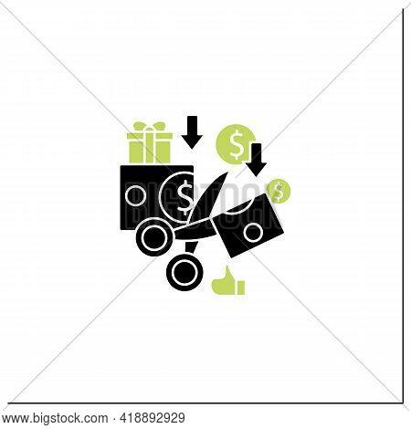 Less Spending Glyph Icon. Reasonable Money Use. Mindful Spending.scissors Cut Money.universal Basic