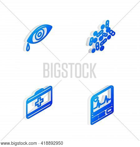 Set Isometric Line Medicine Pill Or Tablet, Reddish Eye Allergic Conjunctivitis, First Aid Kit And M