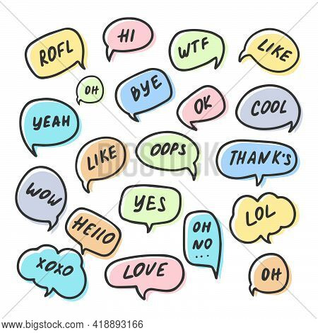 Chat Bubble Talk Phrases. Communication Tags. Cartoon Speech Bubbles With Humor Text. Hand-drawn Sty