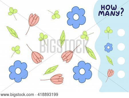 Counting Game For Preschool Kids. Educational Math Game. Count How Many Flowers And Leaves There Are