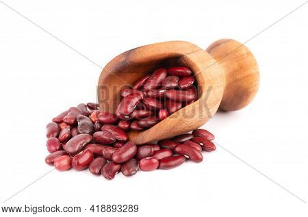 Red Kidney Beans In Wooden Scoop, Isolated On White Background. Rajma Or Mexican Bean. Beans Close U