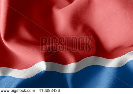 3d Illustration Flag Of Amur Oblast Is A Region Of Russia. Waving On The Wind Flag Textile Backgroun