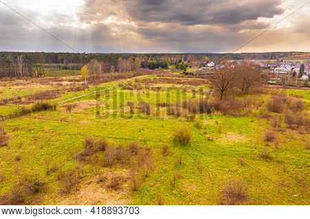 The Small, Provincial Town Of Gozdnica Is Located In South-west Poland. The Panorama Of The City Was