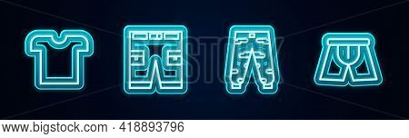 Set Line T-shirt, Short Or Pants, Camouflage Cargo And Men Underpants. Glowing Neon Icon. Vector