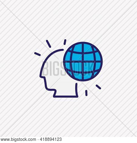 Vector Illustration Of Global Thinking Icon Colored Line. Beautiful Emotions Element Also Can Be Use