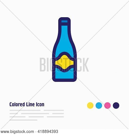 Vector Illustration Of Champagne Icon Colored Line. Beautiful Party Element Also Can Be Used As Fizz
