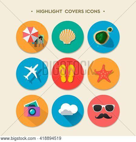 Social Media Highlight Stories Covers. Summertime, Travel, Vacation, Vector Illustration
