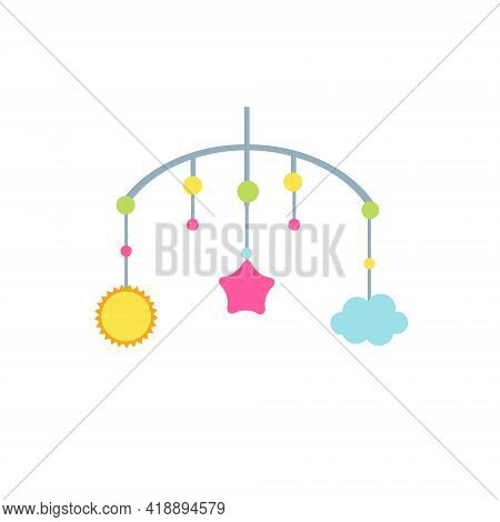 Child Mobile Toys Wit Cloud, Sun And Star. Vector Clip Art