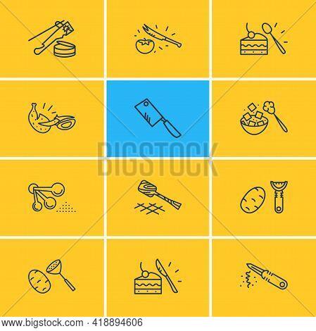 Vector Illustration Of 12 Utensil Icons Line Style. Editable Set Of Vegetable Peeler, Peeling Knife,