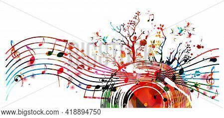 Colorful Musical Promotional Poster With Vinyl Record Disc And Musical Notes Isolated Vector Illustr