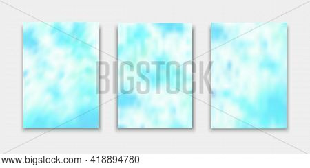 Set Of Cover Templates. Hand Painted Psychedelic Tie Dye Blurred Background. Vector Illustrations Fo