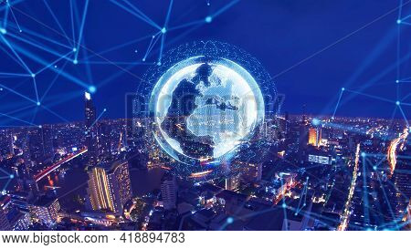 smart city and global network Smart city and global network concept. Future cities IOT concept