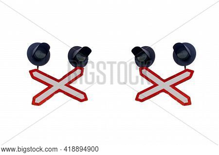 Two Traffic Lights Isolated On White Background Close Up