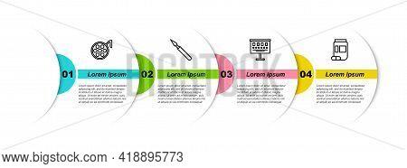 Set Line Surgery Lamp, Medical Surgery Scalpel, Eye Test Chart And Medicine Bottle And Pills. Busine