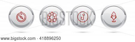 Set Line Compass, Lifebuoy, Fishing Hook And Lure. Silver Circle Button. Vector