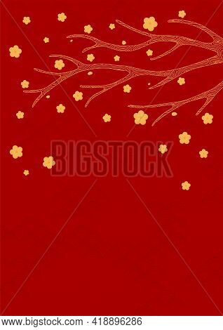 Traditional Asian Background, Tree Branch, Flowers, Gold On Red, Copy Space. Oriental, Eastern Style