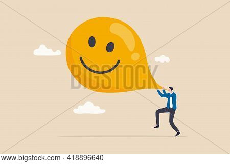 Maximize Happiness, Let Go Anxiety And Think Positive Concept, Man Blow Big Smile Yellow Balloon.