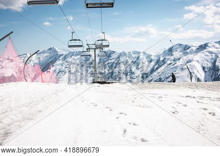 The Gondola Lift On The Ski Resort Of Gudauri , Georgia