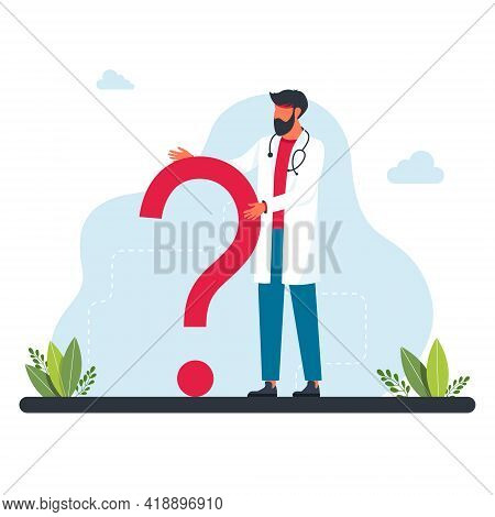 The Doctor Stands In Front Of Large Question Mark. Questions To Doctor About Disease, Online Consult