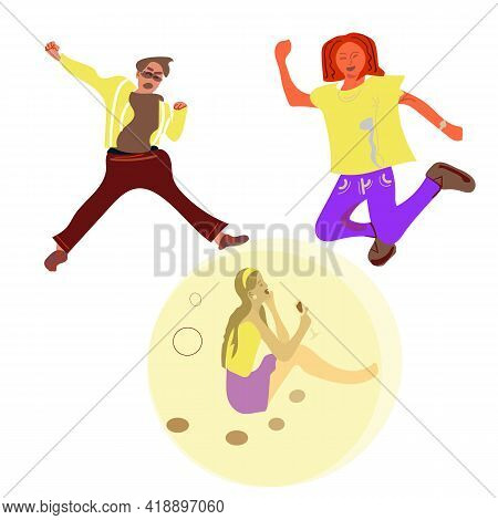 Introvert Vs Extravert. Introverted Girl Character, Flat Happy Men And Woman Dancing. Extraversion,