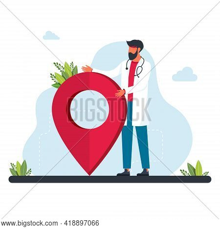 Tiny Doctor Stands Near The Gps Sign. Doctor Is Looking For Geolocation. Geolocation Symbol. Gps Nav