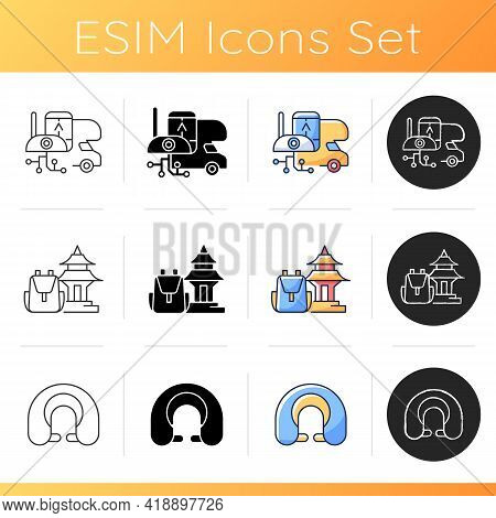 Nomadic Trip Icons Set. Rv Electronics. Spiritual Nomads. Neck Pillow. Rv Electronics. Devices And G