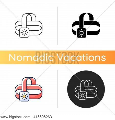 Travel Headlamp Icon. Head Lantern. Electrical Torch. Roadtrip Gear. Camping Trip Necessities For Tr