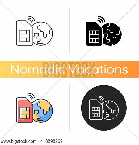 Global Sim Card Icon. Smartphone Connection Around Planet. Travel Necessities For International Tour