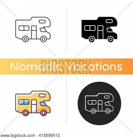 Recreational Vehicle Icon. Roadtrip Trailer. Van For Touring. Nomadic Lifestyle. Auto Transportation