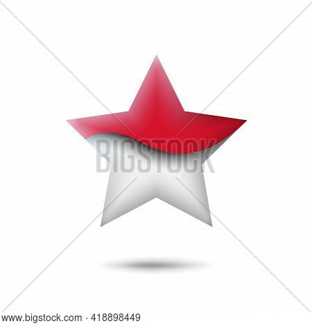 Indonesia Flag Icon In The Shape Of Star. Waving In The Wind. Abstract Waving Flag Indonesia. Paper