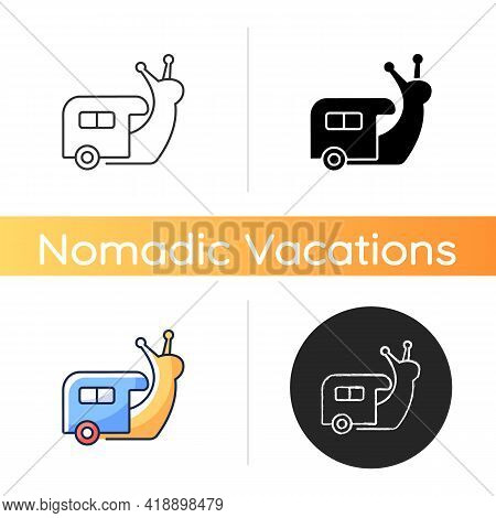 Slow Travel Icon. Recreation And Rest During Tour. Roadtrip In Trailer. Nomadic Lifestyle. Camping T