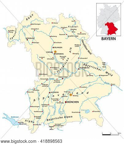 Map Of The State Of Bavaria In German Language