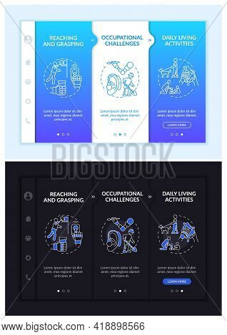 Upper-limb Implant Test Onboarding Vector Template. Responsive Mobile Website With Icons. Web Page W