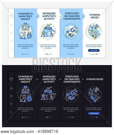 Artificial Limb Replacement Onboarding Vector Template. Responsive Mobile Website With Icons. Web Pa