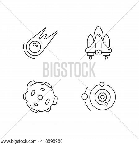 Astronautic Linear Icons Set. Gravitationally System Of Sun And Planets. Earth Natural Satellite. Cu